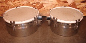"L701 - Timbales Rogers Brass 14""and 15"" (one set w/stand)"